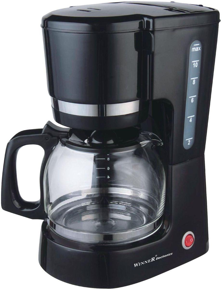 Winner Electronics WR-202 кофеваркаWR-202Кофеварка Winner Electronics WR-202 гарантирует высокую производительность, экономичность и отменное качество готового кофе.Благодаря стильному дизайну кофеварка отлично впишется в любой интерьер. Кофеварка выполнена из пластика с элементами из нержавеющей стали оснащена съемным держателем для фильтра, а также противокапельным клапаном. Многоразовый нейлоновый фильтр надежно задерживает крупные частички кофейной гущи. Функция автоподогрева позволит вам всегда наслаждаться горячим напитком.Резервуар для воды имеет индикатор уровня жидкости. Стеклянный кофейник также оснащен шкалой уровня воды.