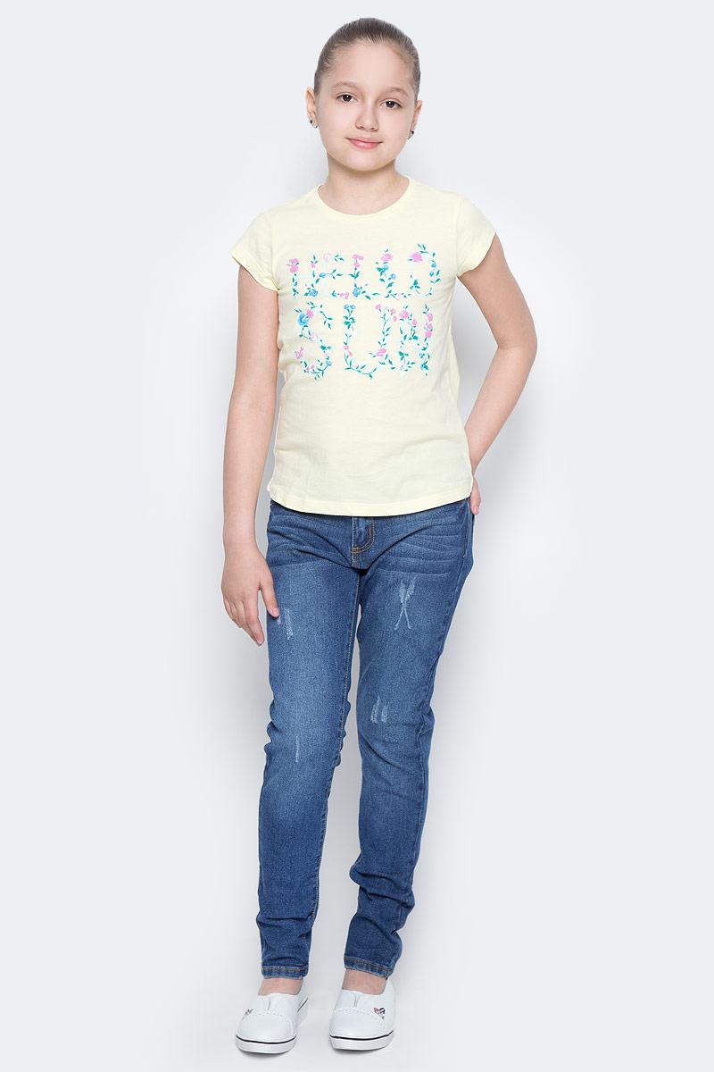 Футболка для девочки Sela, цвет: светло-желтый. Ts-611/966-7223. Размер 134, 9 летTs-611/966-7223Стильная футболка с удлиненной спинкой Sela станет отличным дополнением к гардеробу юной модницы. Модель прямого кроя изготовлена из натурального хлопка и оформлена оригинальным принтом. Воротник дополнен мягкой эластичной бейкой.