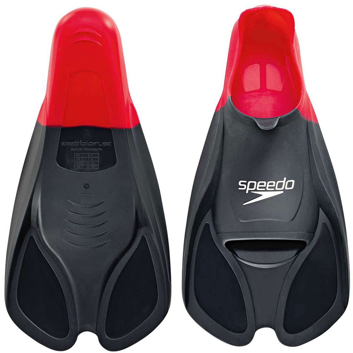 Ласты для плавания Speedo, цвет: красный. Размер 11-12. 8-0884139918-088413991_красный(11-12)Ласты Speedo Biofuse Training Fins являются незаменимым аксессуаром для тренировки силы ног, при создании которого использовалась технология SpeedoBiofuse®. Неслучайно эти ласты для плавания предпочитает использовать многократный олимпийский чемпион Майкл Фелпс. Достаточно жесткие лопасти позволяют создать мощную тягу в воде при естественном темпе работы ног. Специальный узор на поверхности подошвы позволяет получить надежное сцепление с поверхностью бассейна. Форма башмака Speedo Biofuse Training Fin способствует развитию гибкости стопы, что позволяет сделать работу ног более эффективной. Башмак изготовлен из мягкого силикона, который не натирает кожу и прекрасно растягивается. Ласты для плавания Speedo Biofuse Tech Fin отлично подходят для тренировки работы ног в спринте, а также для повышения качества работы ног во время обучения плаванию.Специалисты Proswim.ru рекомендуют Speedo Biofuse Training Fin спортсменам-спринтерам, а также всем, кто имеет желание увеличить силу ног. Ласты для плавания станут вашим лучшим помощником на пути совершенствования работы ног.Размер UK 11-12.Размер US 13-14.Размер EUR 47-48.