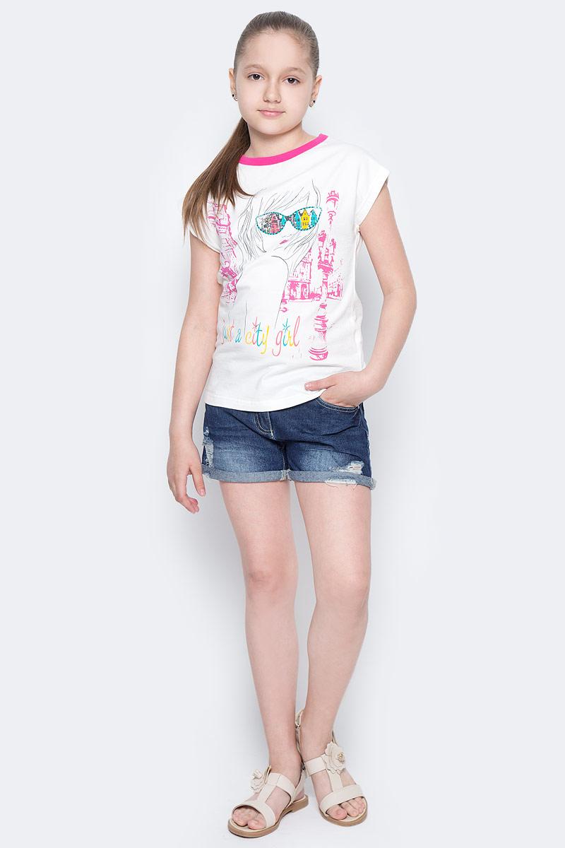 Футболка для девочки M&D, цвет: белый, розовый, мультиколор. SJF260143-17. Размер 152SJF260143-17Футболка для девочки M&D исполнена из натурального хлопка с добавлением лайкры, что позволяет изделию комфортно тянуться не сковывая движения и не терять форму.Модель имеет круглый вырез горловины, дополненный трикотажной бейкой, короткий рукав-кимоно.Футболка оформлена ярким принтом с изображением стилизованной девушки и надписями на английском языке. Нежная к телу и приятно оформленная текстильная футболка обязательно понравится ребенку и подарит ему комфорт.