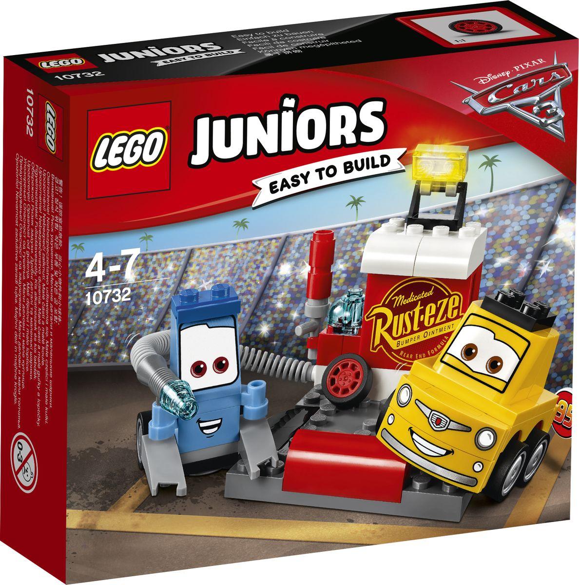 lego lego juniors 10673 ралли на гоночных автомобилях LEGO Juniors Конструктор Пит-стоп Гвидо и Луиджи 10732