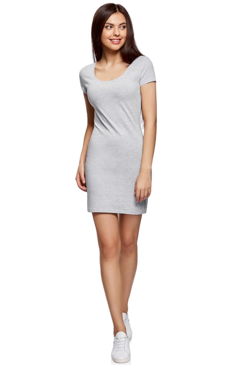 Платье oodji Ultra, цвет: светло-серый меланж. 14001182B/47420/2000M. Размер XL (50) платье oodji ultra цвет сиреневый 14017001 6b 47420 8000n размер xl 50