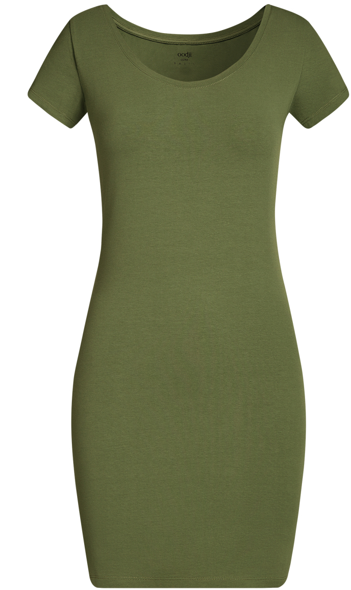 Платье oodji Ultra, цвет: темно-зеленый. 14001182B/47420/6900N. Размер M (46)14001182B/47420/6900NОблегающее платье oodji Ultra выполнено из качественного трикотажа. Модель мини-длины с круглым вырезом горловиныи короткими рукавами выгодно подчеркивает достоинства фигуры.