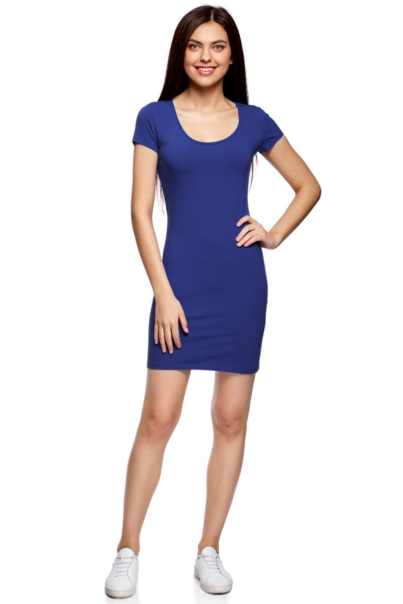 Платье oodji Ultra, цвет: синий. 14001182B/47420/7500N. Размер M (46)14001182B/47420/7500NОблегающее платье oodji Ultra выполнено из качественного трикотажа. Модель мини-длины с круглым вырезом горловиныи короткими рукавами выгодно подчеркивает достоинства фигуры.