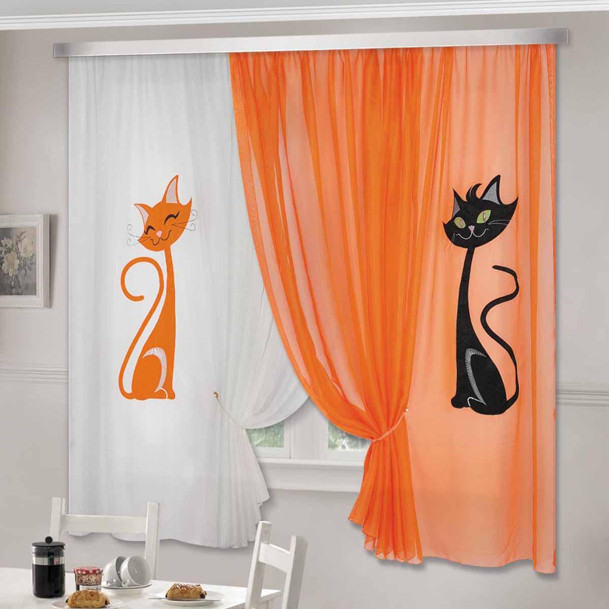 Комплект штор ТД Текстиль Кэти, на ленте, цвет: оранжевый, белый, высота 180 см705497Комплект штор Кэти изготовлен из вуалевого полотна с аппликацией в виде кошек. Шторы крепятся на карниз при помощи ленты, которая поможет красиво и равномерно задрапировать верх.