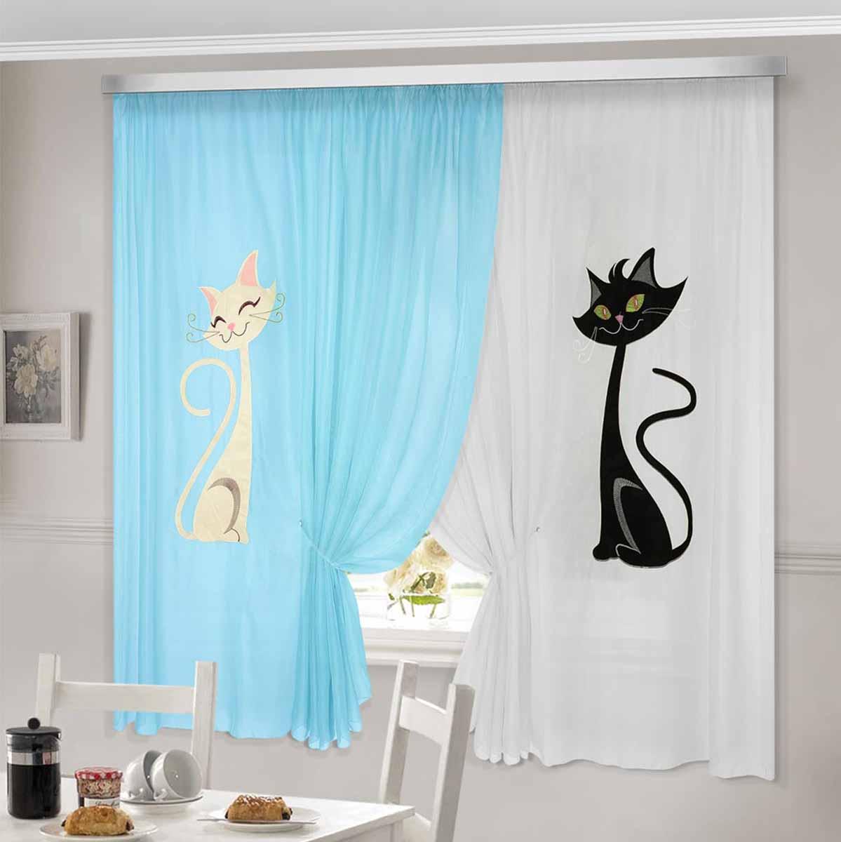 Комплект штор ТД Текстиль Кэти, на ленте, цвет: голубой, белый, высота 180 см92335Комплект штор Кэти изготовлен из вуалевого полотна с аппликацией в виде кошек. Шторы крепятся на карниз при помощи ленты, которая поможет красиво и равномерно задрапировать верх.