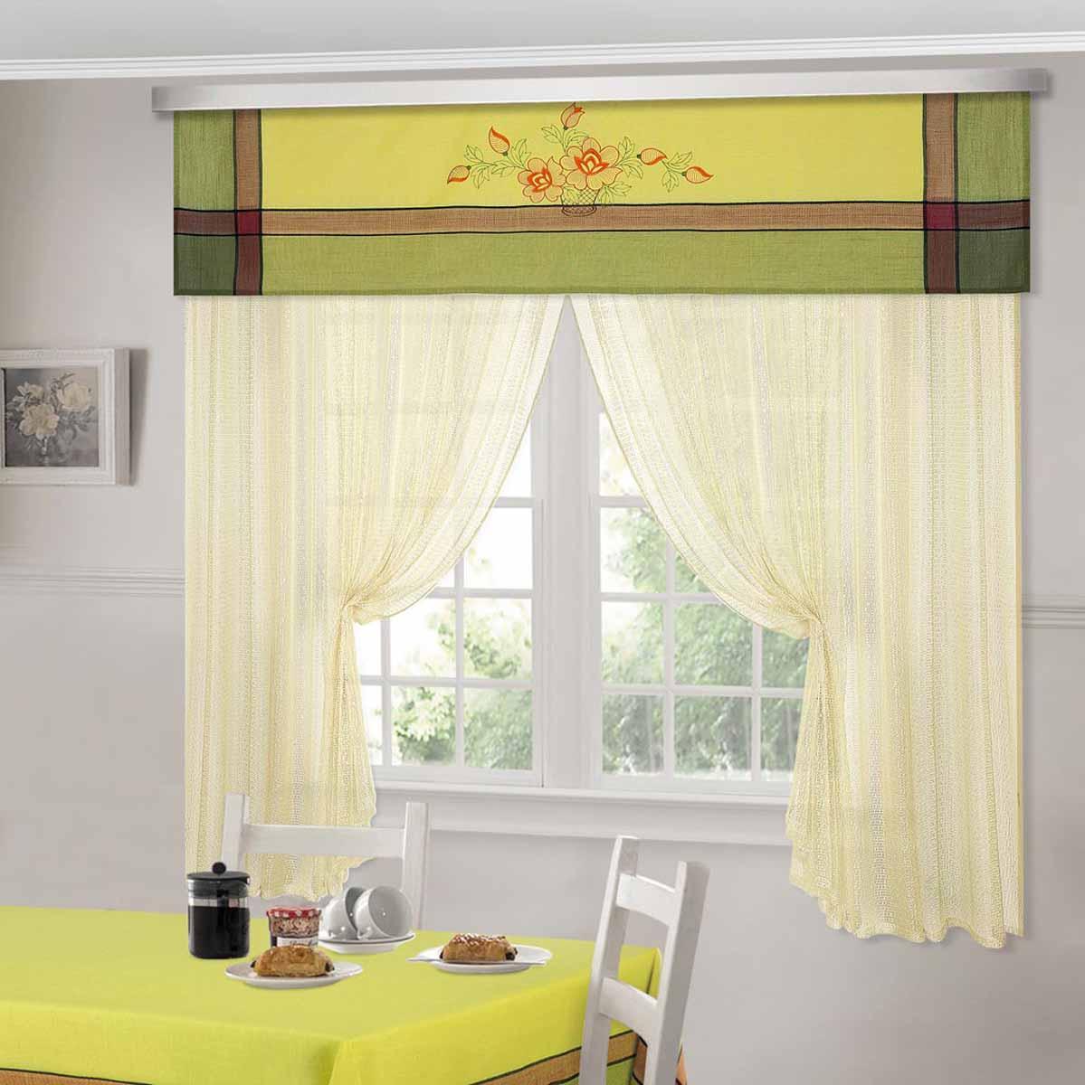 Комплект штор ТД Текстиль Шик, на ленте, цвет: фисташковый, высота 180 см. 92526 шторы интерьерные олимп текстиль шторы бретань