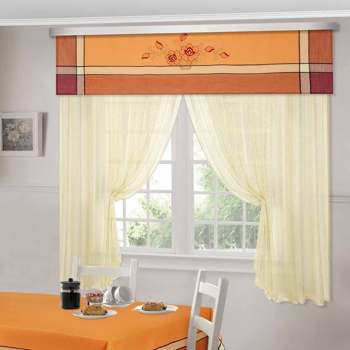 Комплект штор ТД Текстиль Шик, на ленте, цвет: оранжевый, высота 180 см. 92528 шторы интерьерные олимп текстиль шторы бретань