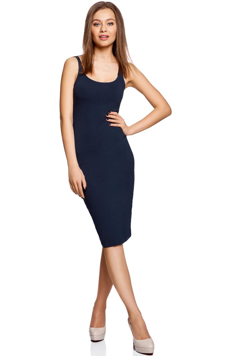 Платье oodji Ultra, цвет: темно-синий. 14015007-2B/47420/7900N. Размер XXS (40)14015007-2B/47420/7900NЛегкое обтягивающее платье oodji Ultra, выгодно подчеркивающее достоинства фигуры, выполнено из качественного эластичного хлопка. Модель миди-длины с круглым вырезом горловины и узкими бретелями дополнена разрезом на юбке с задней стороны. Мягкая ткань приятна на ощупь и комфортна в носке.