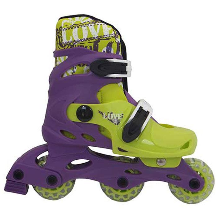 Коньки роликовые Action  PW-127 , раздвижные, цвет: фиолетовый, светло-зеленый, белый. Размер 35/38 - Ролики