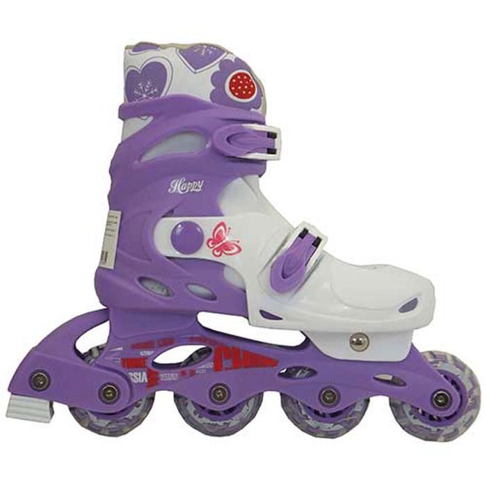 Коньки роликовые Action  PW-128 , раздвижные, цвет: фиолетовый, белый. Размер: 35/38 - Ролики
