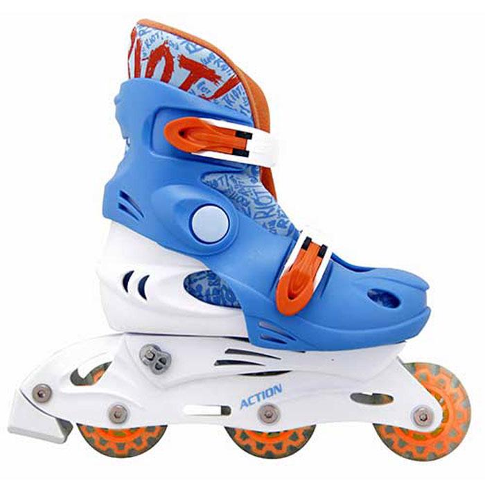 Коньки роликовые Action  PW-329 , раздвижные, цвет: оранжевый, белый, голубой. Размер: 30/33 - Ролики