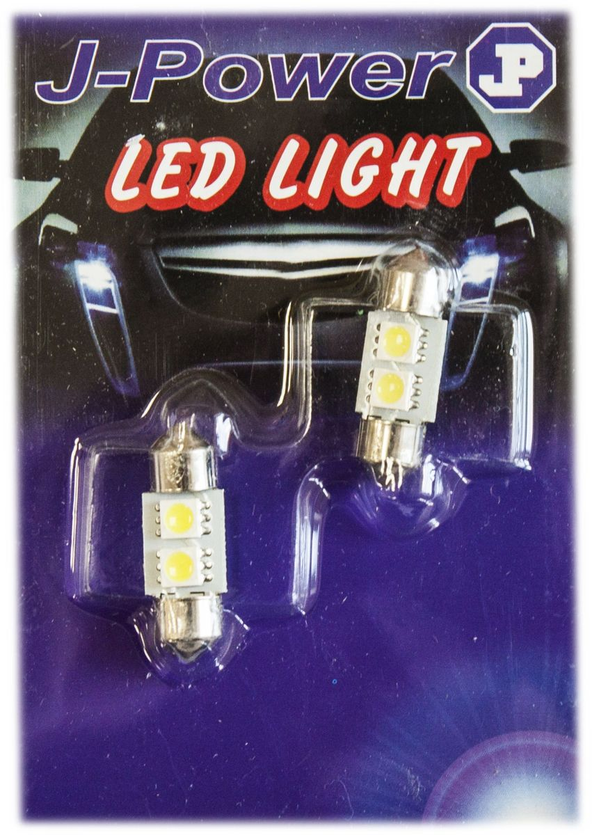 Автолампа светодиодная Jpower, 2 шт. SJ-2SMD-5050-31MMSJ-2SMD-5050-31MMАвтомобильная светодиодная лампа c цоколем C5W. Длина 31мм.Чаще всегоиспользуется для подсветки салона автомобиля.