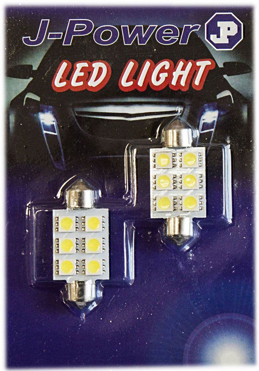 Автолампа светодиодная Jpower, 2 шт. SJ-6SMD-5050-39MMSJ-6SMD-5050-39MMАвтомобильная светодиодная лампа Jpower c цоколем C5W. Чаще всего такая модель используется для подсветки салона автомобиля.Количество светодиодов: 6 шт.Длина лампы: 3,9 см.В комплект входит: 2 лампы.Температура света: 5000К.