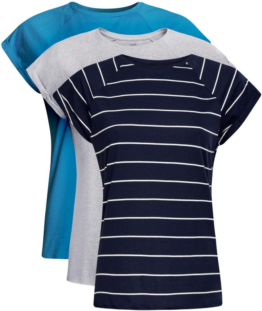 Футболка женская oodji Ultra, цвет: голубой, серый, темно-синий, 3 шт. 14707001T3/46154/19C4N. Размер S (44)14707001T3/46154/19C4NБазовая футболка с короткими рукавами и круглым вырезом горловины выполнена из натурального хлопка. Низ футболки не обработан. В комплекте 3 футболки.