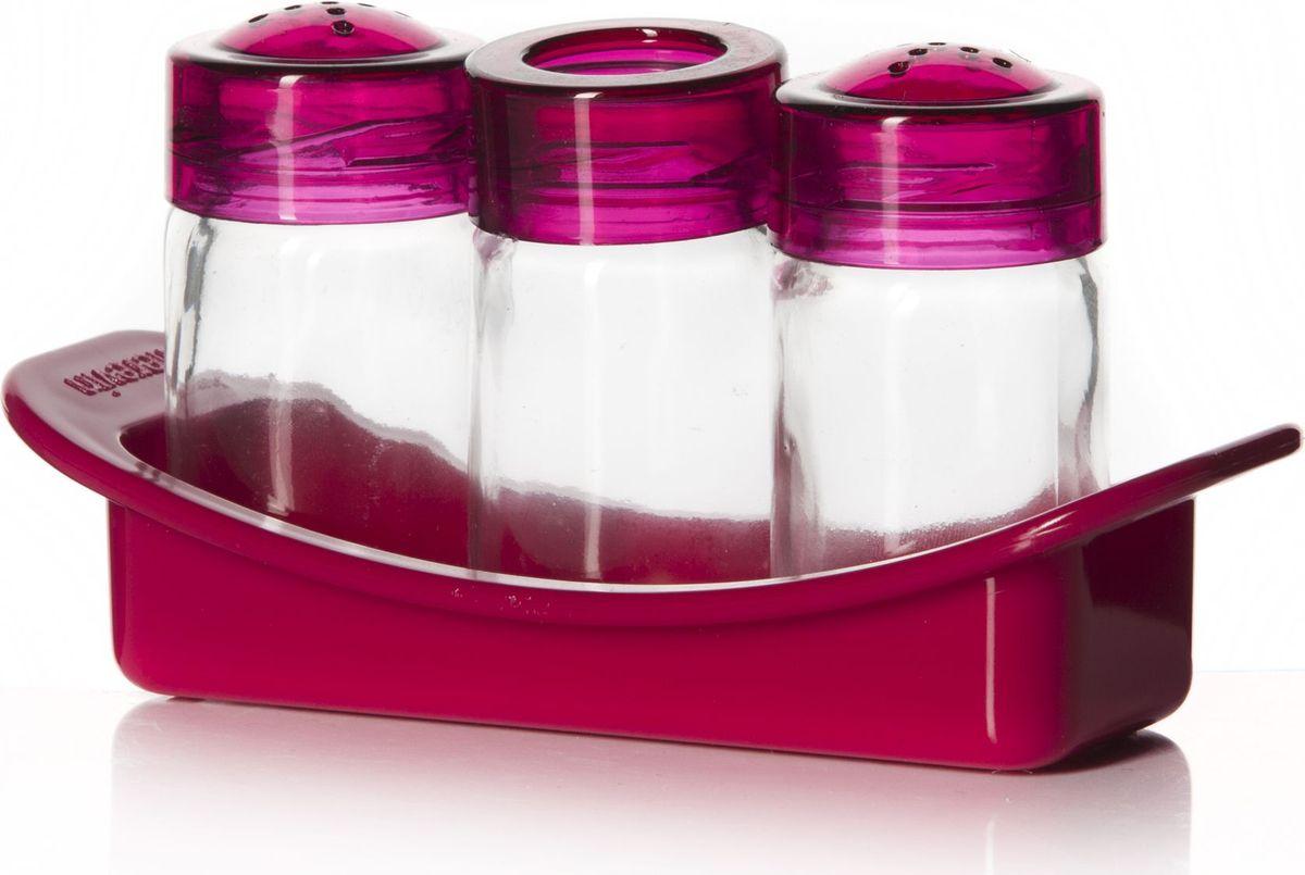 Набор для специй Herevin, 3 предмета. 122060-108122060-108Набор для специй с подставкой 3 предмета, солонка + перечница + емкость для зубочисток, розового цвета