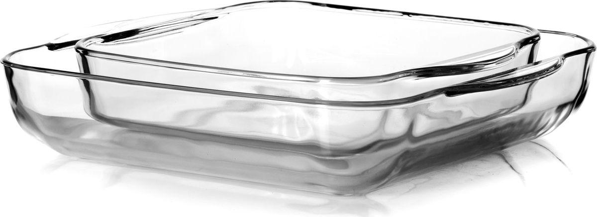 Набор посуды для СВЧ Pasabahce, 2 предмета. 159028159028Набор посуды для СВЧ Pasabahce выполнен из жаропрочного стекла и состоит из двух квадратных лотков разного размера.Изделия прекрасно подойдут для выпекания десертов - кексов, пирогов, тортов. Стекло - самый безопасный для здоровья материал. Посуда из стекла не вступает в реакцию с готовящейся пищей, а потому не выделяет никаких вредных веществ, не подвергается воздействию кислот и солей. Из-за невысокой теплопроводности пища в ней гораздо медленнее остывает.Стеклянная посуда очень удобна для приготовления и подачи самых разнообразных блюд: супов, вторых блюд, десертов. Благодаря прозрачности стекла, за едой можно наблюдать при ее готовке, еду можно видеть при подаче, хранении. Используя такую посуду, вы можете как приготовить пищу, так и изящно подать ее к столу, не меняя посуды. Благодаря гладкой идеально ровной поверхности посуда легко моется. Можно использовать в духовках, микроволновых печах и морозильных камерах (выдерживает температуру от - 30° C до 300°C). Можно мыть в посудомоечной машине.