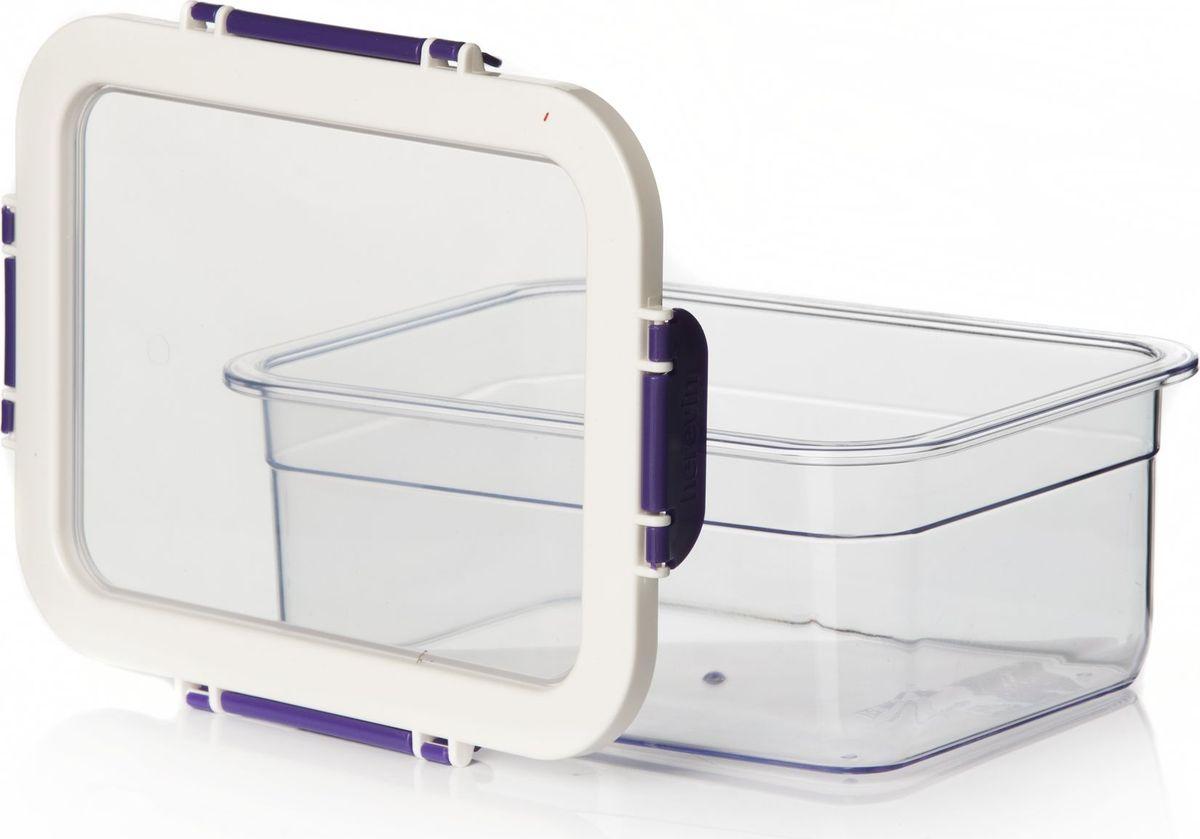 Контейнер для продуктов Herevin, цвет: фиолетовый, белый, 2,2 л. 161420-003161420-003Контейнер для продуктов Herevin изготовлен из качественного пищевого пластика без содержания BPA. Крышка с 4 защелками плотно и герметично закрывается, поэтому продукты дольше остаются свежими. Прозрачные стенки позволяют видеть содержимое. Такой контейнер подойдет для использования дома, его можно взять с собой на работу, учебу, в поездку. Можно использовать в микроволновой печи без крышки. Нельзя мыть в посудомоечной машине.