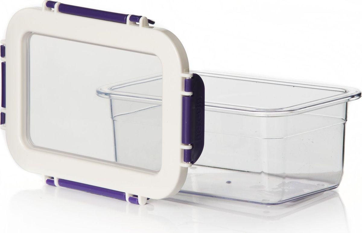 """Контейнер для продуктов """"Herevin"""" изготовлен из качественного пищевого пластика без содержания BPA. Крышка с 4 защелками плотно и  герметично закрывается, поэтому продукты дольше остаются свежими. Прозрачные стенки позволяют видеть содержимое. Такой контейнер  подойдет для использования дома, его можно взять с собой на работу, учебу, в поездку. Можно использовать в микроволновой печи без крышки.  Нельзя мыть в посудомоечной машине."""