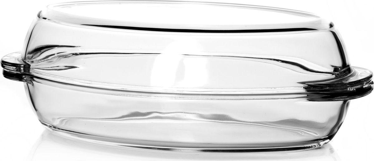 """Утятница """"Pasabahce"""" выполнена из жаропрочного прозрачного стекла и оснащена крышкой.  Изделие не вступает в реакцию с готовящейся пищей, не выделяет никаких вредных веществ и не подвергается воздействию кислот и солей. Из-за невысокой теплопроводности пища в стеклянной посуде гораздо медленнее остывает. Поэтому в такой форме вы можете как приготовить пищу, так и изящно подать ее к столу, не меняя посуды. Благодаря прозрачности стекла за едой можно наблюдать при ее готовке. Стеклянная посуда очень удобна для приготовления и подачи самых разнообразных блюд.    Посуду можно использовать в СВЧ и духовом шкафу при температуре до +300°С, ставить в морозилку при температуре -40°С, а также мыть в посудомоечной машине.  Размер утятницы: 33,5 х 19 х 11 см."""