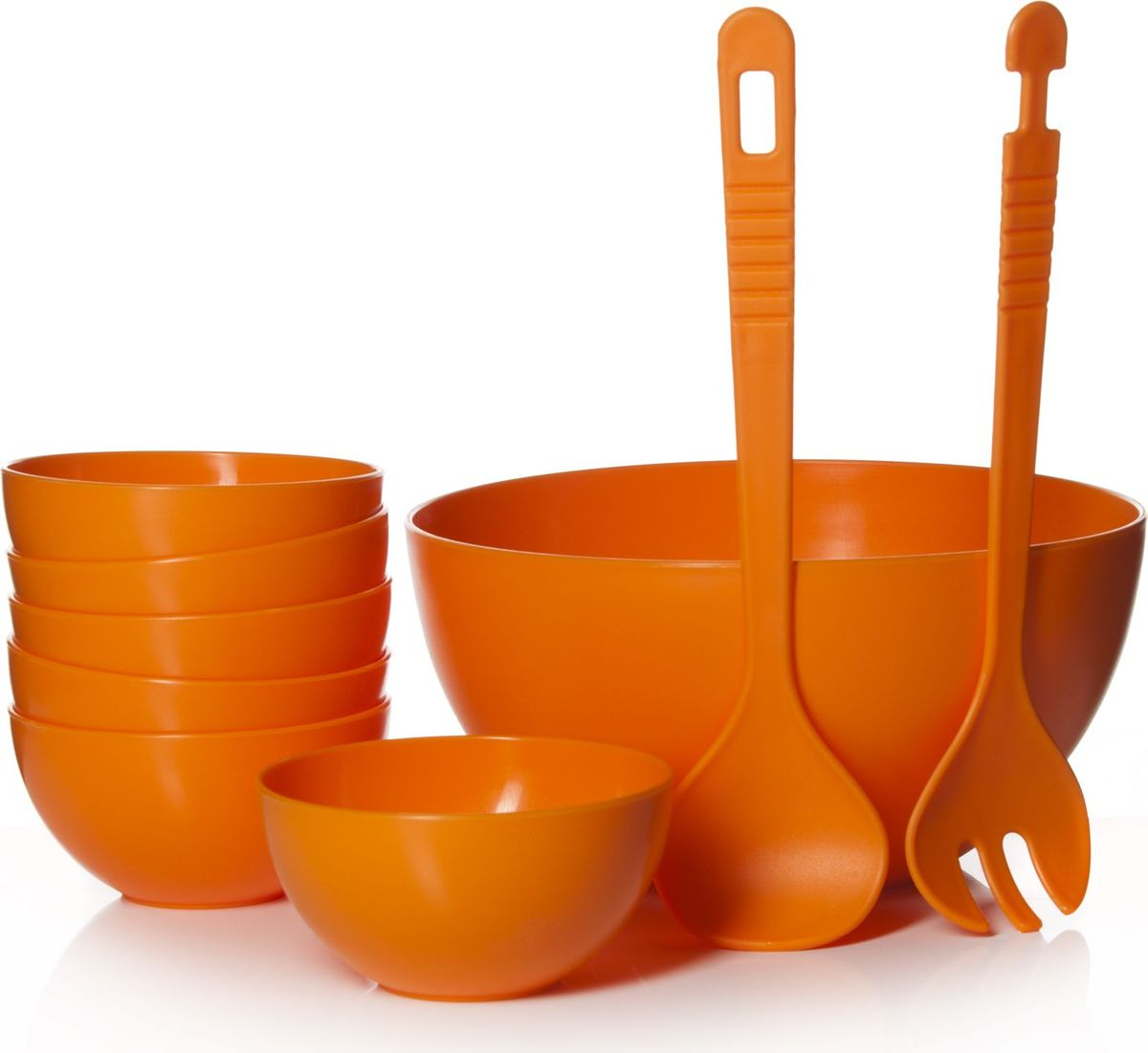 Набор для салата Gotoff, цвет: оранжевый, 9 предметовWTC-700Набор для салата Gotoff состоит из большого салатника, 6 мисок, ложки и вилки. Предметы набора выполнены из полипропилена. Такой набор прекрасно подойдет для использования его на даче и пикниках.Диаметр салатника: 23 см.Высота салатника: 12 см.Диаметр миски: 12 см.Высота миски: 6,3 см.Длина приборов: 29 см.