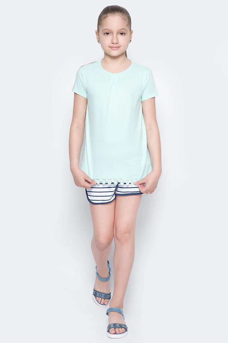Футболка для девочки Sela, цвет: залив. Ts-611/956-7172. Размер 140, 10 летTs-611/956-7172Стильная футболка для девочки Sela изготовлена из натурального хлопка. Модель полуприлегающего кроя оформлена вязаным кружевом по низу. Воротник дополнен мягкой эластичной бейкой. Универсальный цвет позволяет сочетать изделие с любой одеждой.