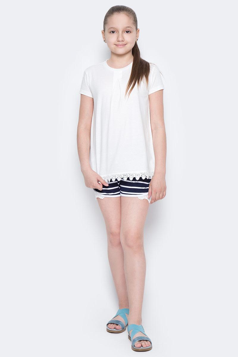 Футболка для девочки Sela, цвет: молочный. Ts-611/956-7172. Размер 134, 9 летTs-611/956-7172Стильная футболка для девочки Sela изготовлена из натурального хлопка. Модель полуприлегающего кроя оформлена вязаным кружевом по низу. Воротник дополнен мягкой эластичной бейкой. Универсальный цвет позволяет сочетать изделие с любой одеждой.