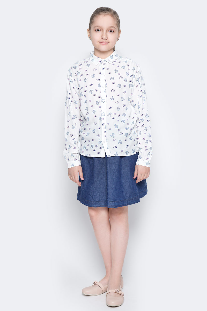 Блузка для девочки Sela, цвет: молочный. B-612/239-7152. Размер 152, 12 летB-612/239-7152Оригинальная блузка для девочки Sela выполнена из воздушного материала и оформлена оригинальным принтом. Модель прямого кроя с удлиненной спинкой и отложным воротничком застегивается на пуговицы. Манжеты длинных рукавов также дополнены пуговицами. Блузка подойдет для прогулок и дружеских встреч и будет отлично сочетаться с джинсами и брюками, и гармонично смотреться с юбками. Мягкая ткань комфортна и приятна на ощупь.