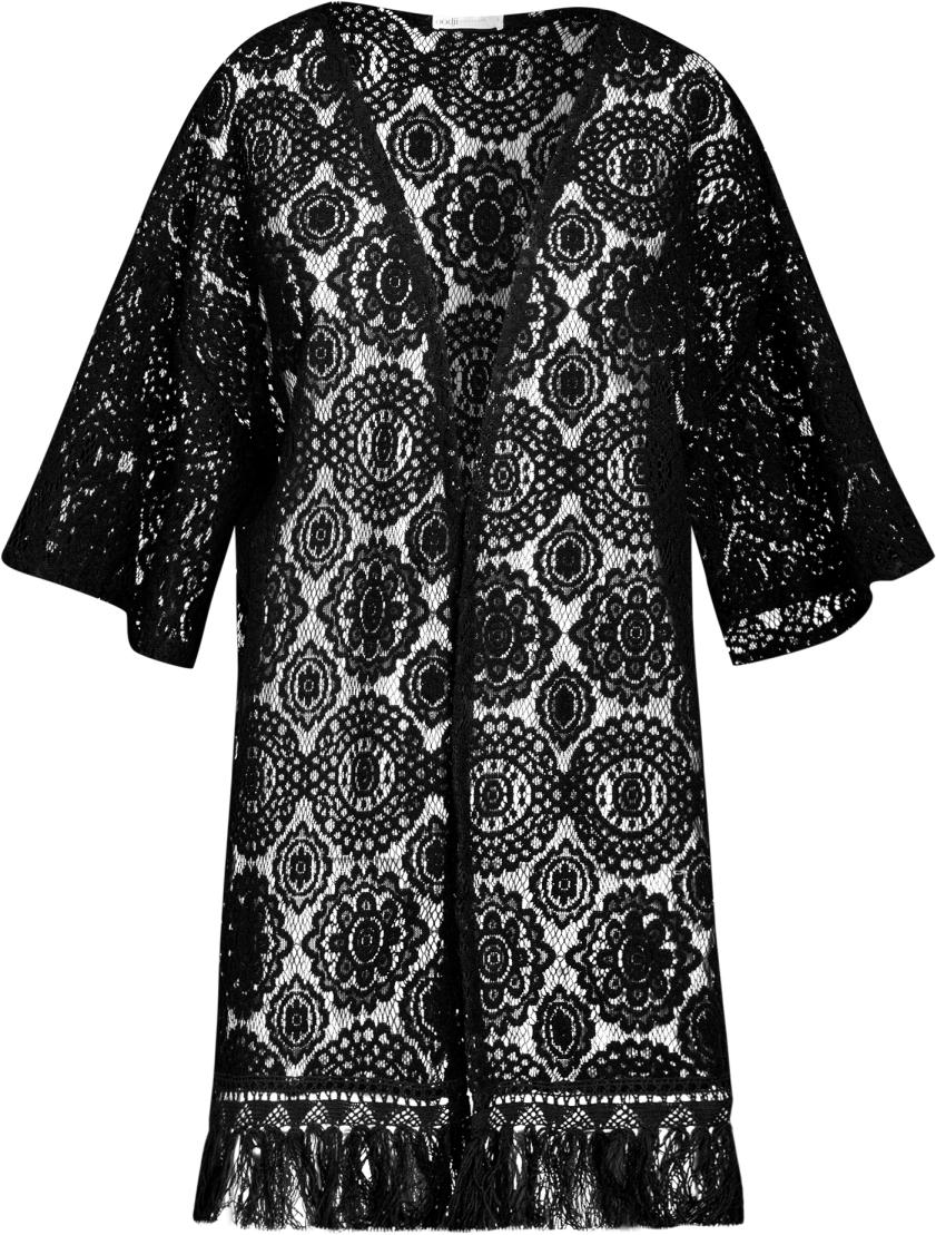 Пеньюар женский oodji Ultra, цвет: черный. 59805012/46564/2900N. Размер S (44)59805012/46564/2900NПеньюар домашний от oodji выполнен из ажурного материала. Модель с рукавами 1/2.