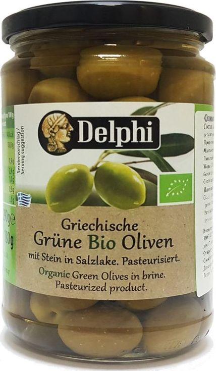 Delphi оливки био с косточкой в рассоле, 290 г оливки чёрные pikarome резаные в рассоле 4 2 кг