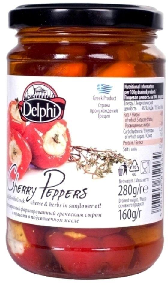 Delphi перец красный фаршированный греческим сыром с травами в подсолнечном масле, 280 г олег ольхов рыба морепродукты на вашем столе