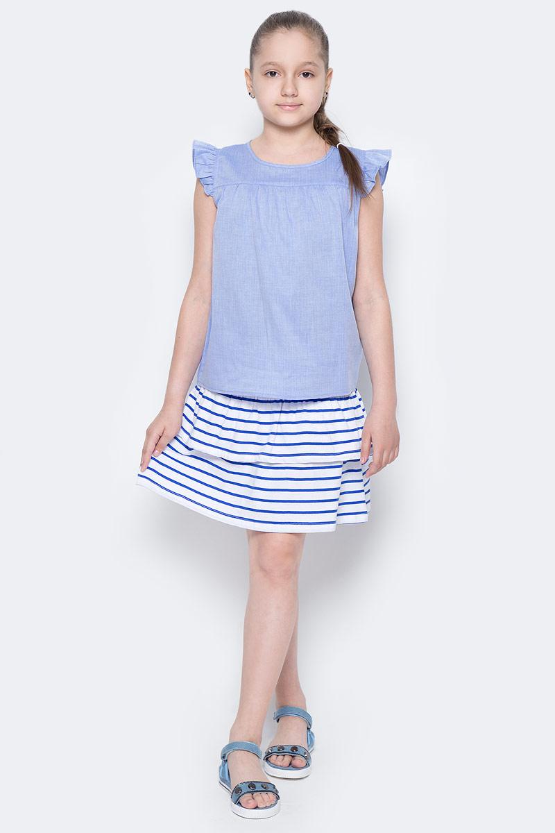 Юбка для девочки Sela, цвет: сине-фиолетовый. SKk-618/135-7233. Размер 140, 10 летSKk-618/135-7233Легкая юбка для девочки Sela выполнена из натурального хлопка и оформлена принтом в полоску. Юбка расклешенного кроя мини-длины с поясом на мягкой резинке подойдет для прогулок и дружеских встреч и станет отличным дополнением гардероба юной модницы. Мягкая ткань комфортна и приятна на ощупь.