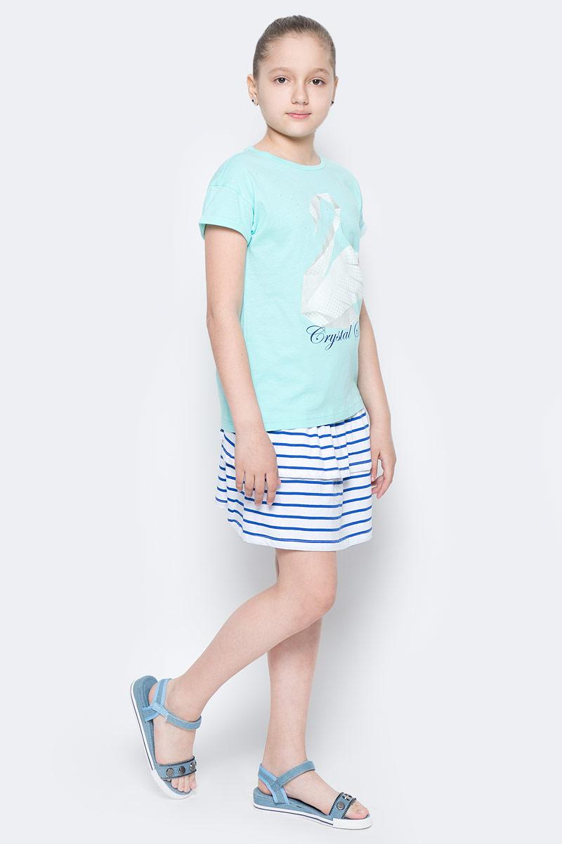 Футболка для девочки Sela, цвет: свежая мята. Ts-611/944-7152. Размер 152, 12 лет футболка для девочки sela цвет лиловый tsl 611 984 7223 размер 152 12 лет