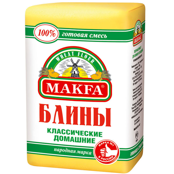 Makfa Блины классические домашние мука для блинов и оладий, 1 кг81829Уникальный продукт для тех, кто следит за здоровьем и особенно требовательно относится к составу продукции и ее полезности. Основой именно этой мучной смеси стал второй сорт муки из твердой пшеницы. Мука второго сорта содержит пищевые волокна (клетчатку), витамины группы В, РР (которые либо отсутствуют в высшем сорте, либо минимальны), в ней также выше содержание минеральных веществ по сравнению с высшим сортом. А значит, блины из такой муки, так же, как и настоящие макароны, не полнят, и при этом содержат много белка, что особенно важно для вегетарианцев и тех, кто придерживается диеты.