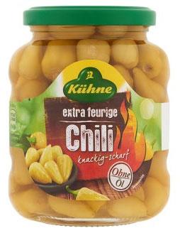 Kuhne Перчики чили острые без содержания масла, 330 г корнишоны сладкие kuhne 530г