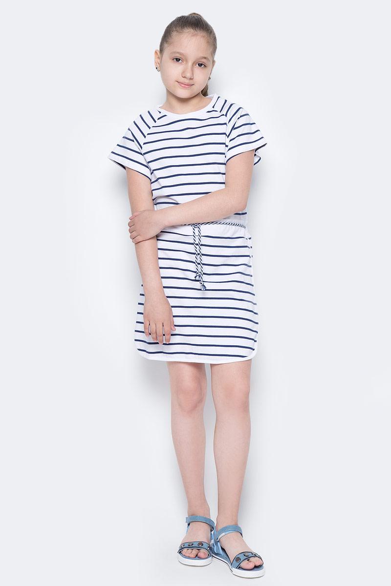 Платье для девочки Sela, цвет: белый. Dks-617/434-7233. Размер 140, 10 летDks-617/434-7233Лаконичное платье для девочки Sela выполнено из натурального хлопка и оформлено принтом в полоску. Модель прямого кроя с короткими рукавами-реглан подойдет для прогулок и дружеских встреч и станет отличным дополнением гардероба юной модницы. Линию талии подчеркивает вшитый пояс со шнурком. Круглый вырез горловины дополнен мягкой трикотажной резинкой.