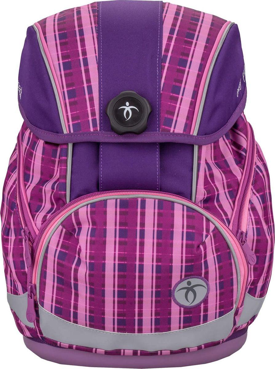 Belmil Ранец школьный Easy Pack Purple404-40/005Школьный ранец-рюкзак Belmil Easy Pack Purpler с анатомической спинкой выполнен в современном эргономичном дизайне. Спинка имеет анатомически сформированную форму с заметной поддержкой поясничного отдела, что существенно снижает нагрузку на позвоночник. Ранец-рюкзак легко подогнать под рост ребенка от 110 до 140 см. Для надежного крепления есть съемный набедренный ремень, а также нагрудный фиксатор. Монолитное пластиковое дно защищает вещи школьника от пыли и влаги и придает ранцу-рюкзаку устойчивость. Крышка закрывается автоматически с помощью немецкого магнитного замка Fidlock. Рюкзак имеет основное отделение и два объемных боковых кармана на молнии. Вместительный наружный карман подходит для размещения пенала. Школьный ранец имеет яркий дизайн.