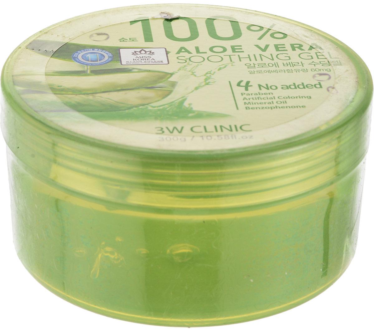 3W Clinic Гель универсальный Aloe Vera Soothing Gel 100%, 300 гр575356Многофункциональный успокаивающий гель с экстрактом алоэ 100%Гель наполняет кожу влагой, успокаивает её, снимает раздражения, избавляет от шелушений. Гель с алоэ обладает ранозаживляющим действием, благотворно влияет на кожу и оздоравливает ее на клеточном уровне. Гель с алоэ рекомендован для использования после агрессивного воздействия солнечных лучей на кожу, а также для уменьшения болевые ощущения после укусов насекомых.Алоэ создает на коже незаметный, но очень эффективный барьер, препятствующий проникновению болезнетворных бактерий и грибковых инфекций, а также помогает справиться с уже существующей угревой сыпью. Сок алоэ не закупоривает поры, регулирует работу сальных желез и придает коже здоровую матовость.