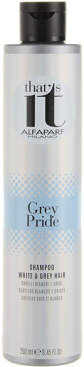 Alfaparf Thats it Grey Pride Shampoo Шампунь тонирующий для светлых и седых волос, 250 мл13178Тонирующий шампунь устраняет нежелательные теплые оттенки, дарит сияние натуральным и окрашенным, светлым и седым волосам. Жемчужные светоотражающие частицы создают безграничную игру цвета, делают волосы максимально блестящими. Входящий в состав шампуня фитокератин увлажняет и защищает волосы, делая их более сильными, мягкими и шелковистыми.Объем: 250 мл