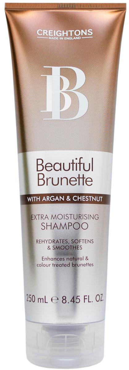 Creightons Увлажняющий шампунь для темных волос Роскошный брюнет, 250 млBB5500Лучший способ ухода за темными волосами. В состав шампуня входят Pro-Витамин В5, аргановое масло, экстракт каштана и солнцезащитные компоненты, которые придают окрашенным и натуральным волосам свежий вид и блеск. Подходит для оттенков Каштан, Махагон, всех коричневых и темно-коричневых оттенков волос. НЕ ОКРАШИВАЕТ ВОЛОСЫ.