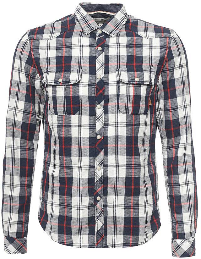 Рубашка мужская Tom Tailor, цвет: темно-синий, белый, красный. 2033192.00.12_2132. Размер XXL (54) рубашка мужская levi s® цвет синий красный белый 6581602170 размер xxl 54