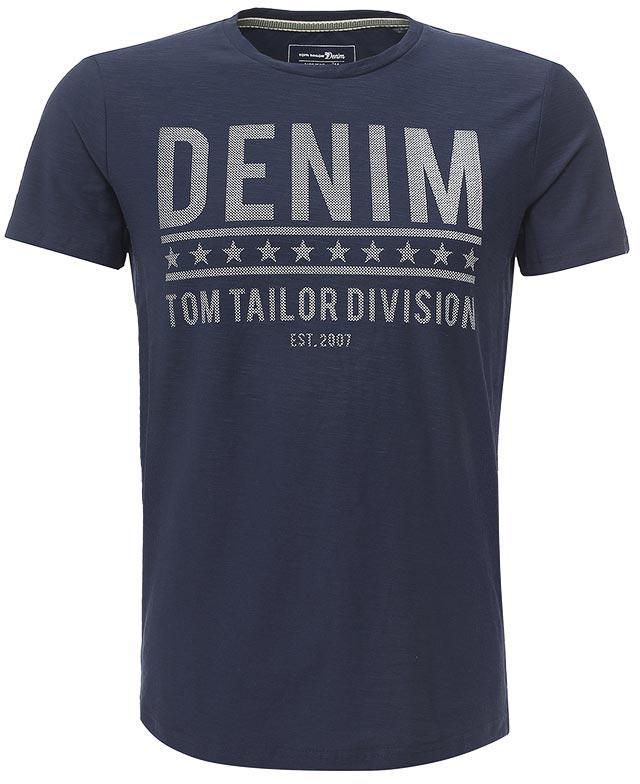 Футболка мужская Tom Tailor Denim, цвет: темно-синий. 1038317.00.12_6740. Размер L (50) футболка мужская tom tailor цвет бордовый 1038245 09 12 4257 размер l 50