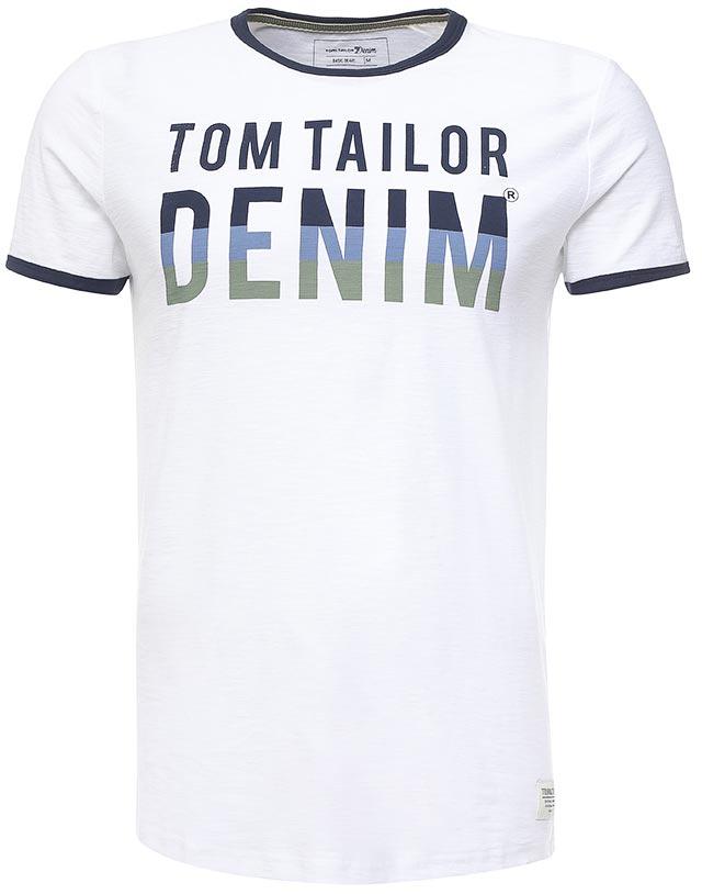 Футболка мужская Tom Tailor Denim, цвет: белый, темно-синий. 1037950.00.12_2000. Размер XXL (54) блузка женская tom tailor denim цвет белый темно синий 2032916 09 71 8005 размер m 46