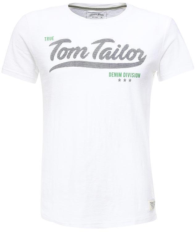 цена  Футболка мужская Tom Tailor Denim, цвет: белый. 1037906.00.12_2000. Размер XXL (54)  онлайн в 2017 году