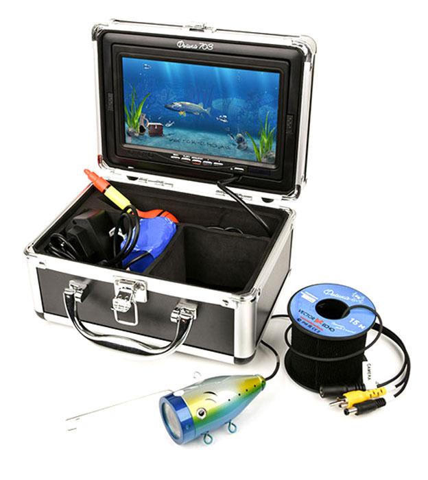 Подводная камера Фишка 703VE-f703Лидер линейки, 7 дюймовый дисплей, прикрытый козырьком обеспечивает отличное качество изображения. Удобный кейс, куда помещаются все элементы прибора, не только позволяет с легкостью транспортировать устройство, но и использовать его по прямому назначению, вынув из кейса только непосредственно камеру, дисплей интегрирован в крышку кейса, а остальные элементы удобно размещаются в отдельных отделениях. Сама камера обладает мощной подсветкой, включение которое контролирует пользователь.Функция записи: Да. Рабочая температура: от -20 °С до +60 °С. Дальность обзора (в чистой воде): от 1 до 3 метров. Встроенная подсветка: 12 светодиодов. Длина кабеля: 15 метров.Разрешение камеры: 800 ТВЛ.Усилие на разрыв: до 30 кг.Время автономной работы:до 12 часов.Ёмкость аккумулятора: внешний 4500 мА/ч.