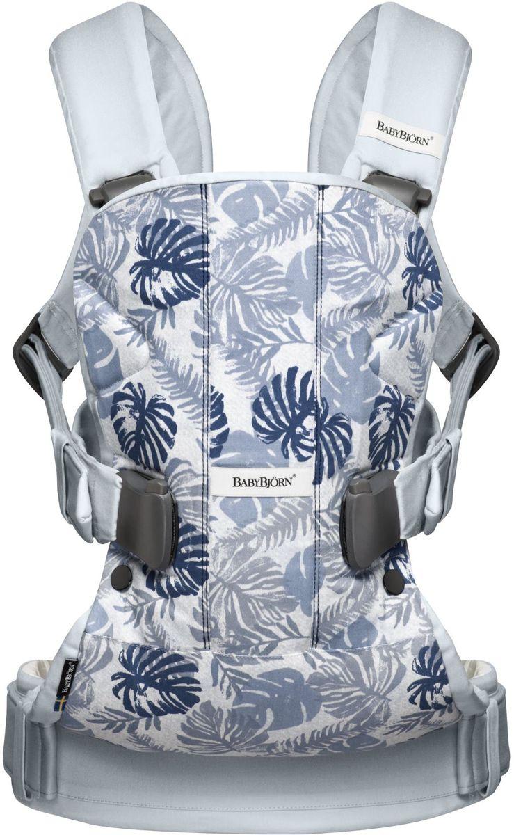 BabyBjorn Рюкзак для переноски ребенка One Soft Cotton Mix Листья цвет светло-голубой babybjorn сиденье для унитаза babybjorn белый с красным
