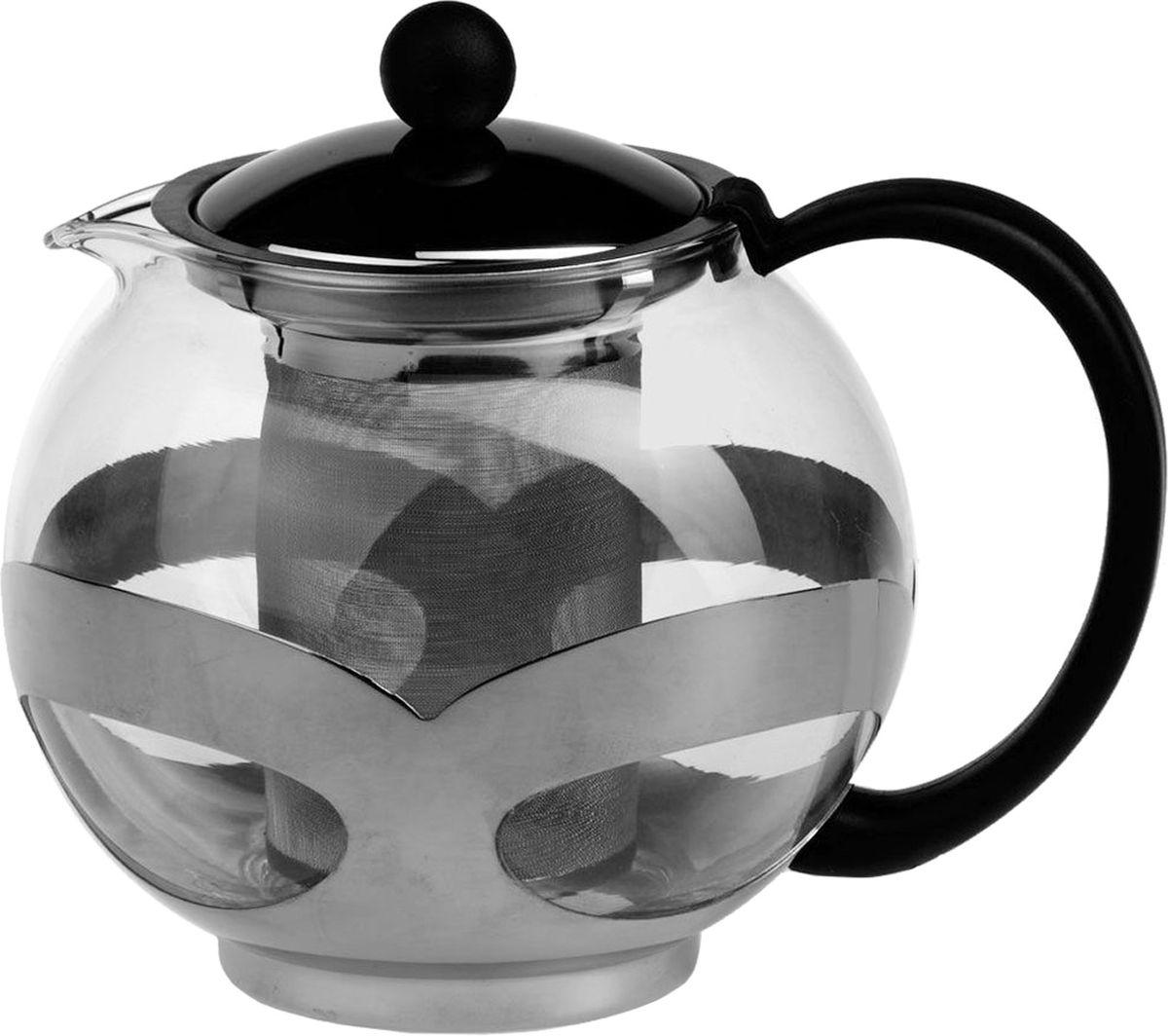 """Заварочный чайник """"Gotoff"""" изготовлен из жаропрочного стекла. Фильтр из высококачественной нержавеющей стали. Оправа выполнена из стали защищает колбу от ударов и повреждений. Объем: 750 мл."""