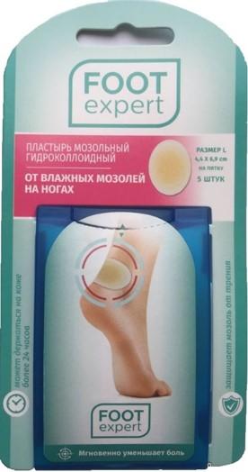 Foot expert Пластырь гидроколлоидный от влажных мозолей, 5шт 4,4 х 6,9 см17163ФУТ эксперт - гидроколлоидные пластыри от влажных мозолей позволяют сохранять в ранке оптимальную влажность, для скорейшего заживления мозоли. Надежно фиксируются на коже, позволяют ране дышать, смягчают давление на кожу, не допускают проникновения в ранку влаги (усугубляющей проблему) и опасных бактерий. Моментально облегчают боль, защищая мозоль от внешнего давления, способствуют ускорению процесса заживления раны без образования рубцов и шрамов. Отлично держатся на месте (24-48 часов), не отклеиваясь и не скатываясь даже при контакте с водой.
