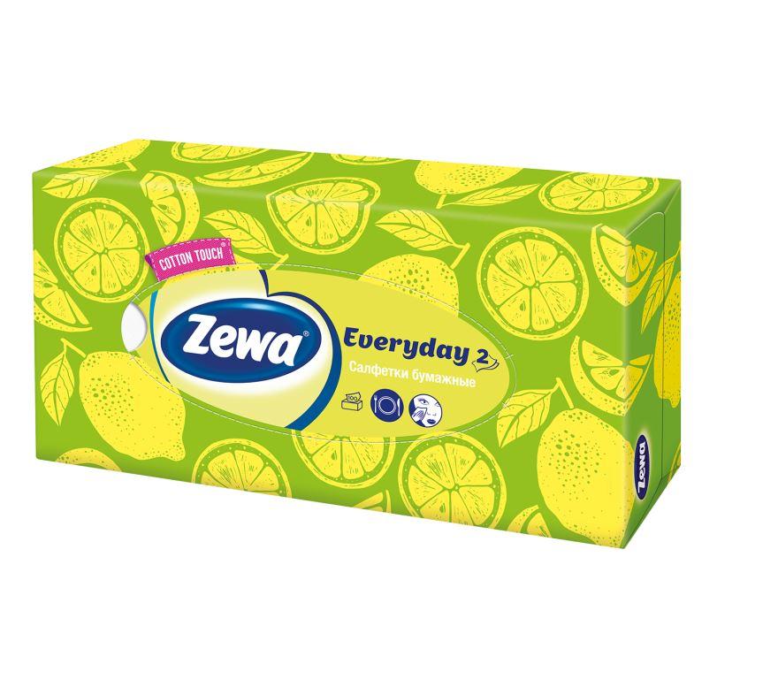 Zewa Платки косметические в коробке Everyday, 100 шт, цвет: зелёный, лимон носовые платки zewa delux 60 шт