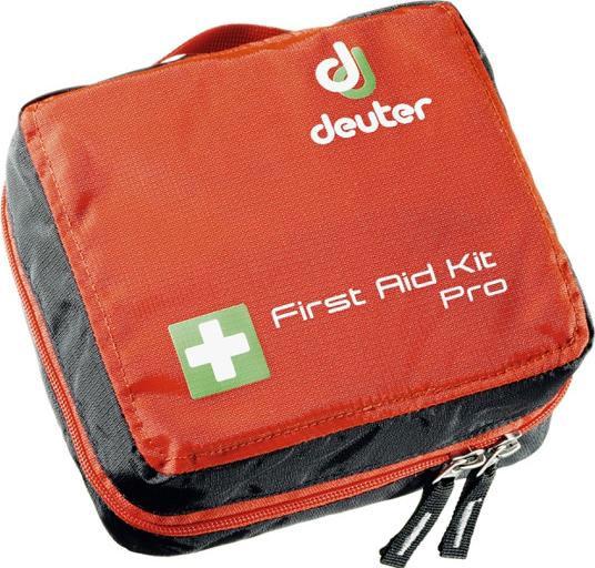 """В сумку для медикаментов Deuter """"First Aid Kit Pro"""" вместится хорошо укомплектованный аварийный комплект. Вы можете поместить туда пинцет для  клещей, ножницы, многочисленные бинты и многое другое. Сумка имеет достаточно карманов для лекарств. Изделие застегивается на круговую  молнию, обеспечивая тем самым быстрый доступ ко всему содержимому. К сумке прилагается брошюра с инструкцией по оказанию первой помощи на немецком,  английском, французском и испанском языках. Внутренние карманы сумки изготовлены из сетчатого материала, благодаря чему вы сразу сможете увидеть,  какие медикаменты хранятся в данном отделении. Изделие имеет 6 небольших накладных открытых кармашков, 2 нашивных сетчатых кармашка и 1 большой,  застегивающийся на молнию, сетчатый карман. К задней части сумки пришита петля для поясного ремня. Для удобства транспортировки сумка снабжена ручкой  для переноски."""